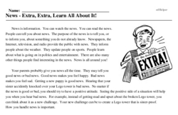 Print <i>News - Extra, Extra, Learn All About It!</i> reading comprehension.