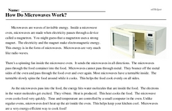 Print <i>How Do Microwaves Work?</i> reading comprehension.