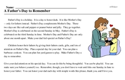 Print <i>A Father's Day to Remember</i> reading comprehension.