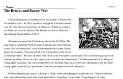 Print <i>The Brooks and Baxter War</i> reading comprehension.