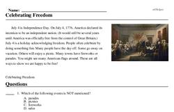 Print <i>Celebrating Freedom</i> reading comprehension.
