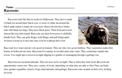 Print <i>Raccoons</i> reading comprehension.
