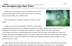 Print <i>How Do Spiders Spin Their Webs?</i> reading comprehension.