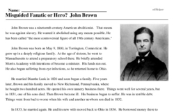 Print <i>Misguided Fanatic or Hero? John Brown</i> reading comprehension.