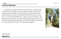 Print <i>General Sherman</i> reading comprehension.