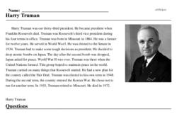 Print <i>Harry Truman</i> reading comprehension.