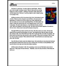 Print <i>Jeff Brown</i> reading comprehension.