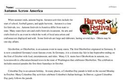 Print <i>Autumn Across America</i> reading comprehension.