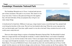 Print <i>Guadalupe Mountains National Park</i> reading comprehension.