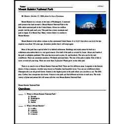 Print <i>Mount Rainier National Park</i> reading comprehension.