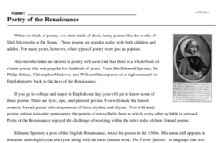Print <i>Poetry of the Renaissance</i> reading comprehension.