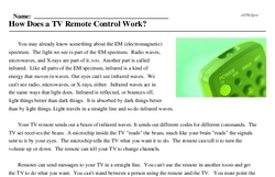 Print <i>How Does a TV Remote Control Work?</i> reading comprehension.