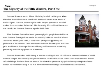 Print <i>The Mystery of the Fifth Window, Part One</i> reading comprehension.