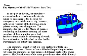 Print <i>The Mystery of the Fifth Window, Part Two</i> reading comprehension.