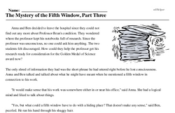 Print <i>The Mystery of the Fifth Window, Part Three</i> reading comprehension.