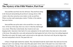 Print <i>The Mystery of the Fifth Window, Part Four</i> reading comprehension.