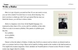 Print <i>Write a Haiku</i> reading comprehension.
