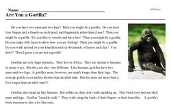 Print <i>Are You a Gorilla?</i> reading comprehension.