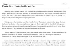Print <i>Plants: Over, Under, Inside, and Out</i> reading comprehension.