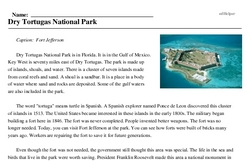 Print <i>Dry Tortugas National Park</i> reading comprehension.
