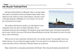Print <i>Isle Royale National Park</i> reading comprehension.