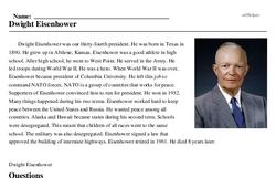 Print <i>Dwight Eisenhower</i> reading comprehension.