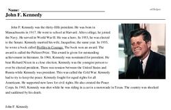 Print <i>John F. Kennedy</i> reading comprehension.
