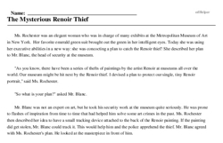Print <i>The Mysterious Renoir Thief</i> reading comprehension.
