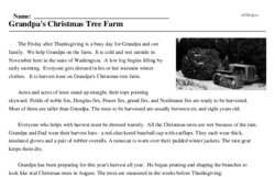 Print <i>Grandpa's Christmas Tree Farm</i> reading comprehension.