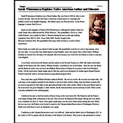 Print <i>Sarah Winnemucca Hopkins: Native American Author and Educator</i> reading comprehension.