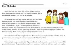 Print <i>Peer Mediation</i> reading comprehension.