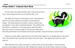 Print <i>What Stinks? Animals that Reek</i> reading comprehension.