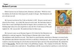 Print <i>Robert Lawson</i> reading comprehension.