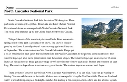 Print <i>North Cascades National Park</i> reading comprehension.