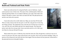 Print <i>Redwood National and State Parks</i> reading comprehension.