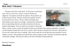 Print <i>Red Alert: Volcanoes</i> reading comprehension.