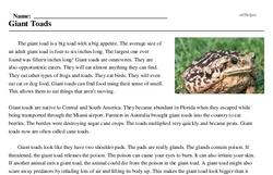 Print <i>Giant Toads</i> reading comprehension.