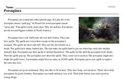 Print <i>Porcupines</i> reading comprehension.