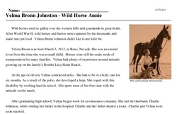 Print <i>Velma Bronn Johnston - Wild Horse Annie</i> reading comprehension.