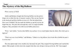 Print <i>The Mystery of the Big Balloon</i> reading comprehension.