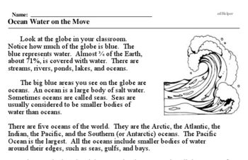 Print <i>Ocean Water on the Move</i> reading comprehension.