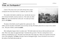 Print <i>What Are Earthquakes?</i> reading comprehension.