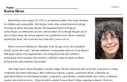 Print <i>Karen Hesse</i> reading comprehension.