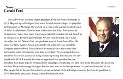Print <i>Gerald Ford</i> reading comprehension.