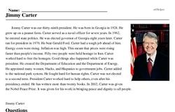 Print <i>Jimmy Carter</i> reading comprehension.