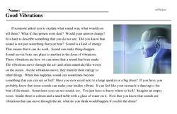 Print <i>Good Vibrations</i> reading comprehension.