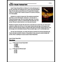 Print <i>Lassen Volcanic National Park</i> reading comprehension.