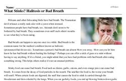 Print <i>What Stinks? Halitosis or Bad Breath</i> reading comprehension.