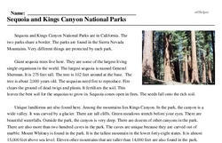 Print <i>Sequoia and Kings Canyon National Parks</i> reading comprehension.