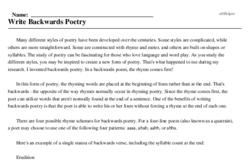 Print <i>Write Backwards Poetry</i> reading comprehension.